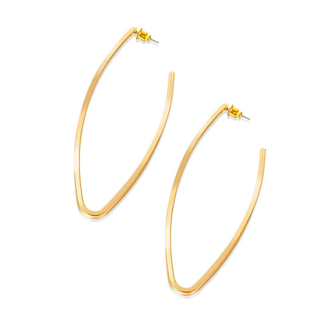 Gold Teardrop Alloy Hoop Earrings