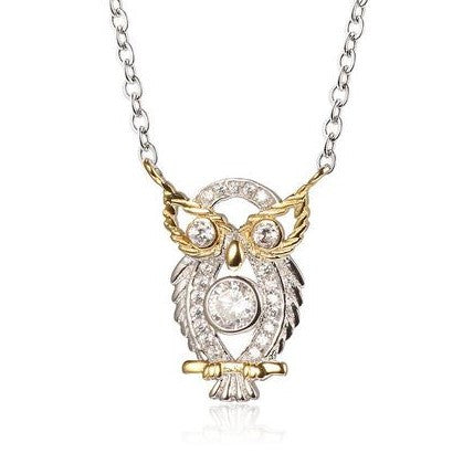 925 Sterling Silver Opulent Owl Pendant Necklace
