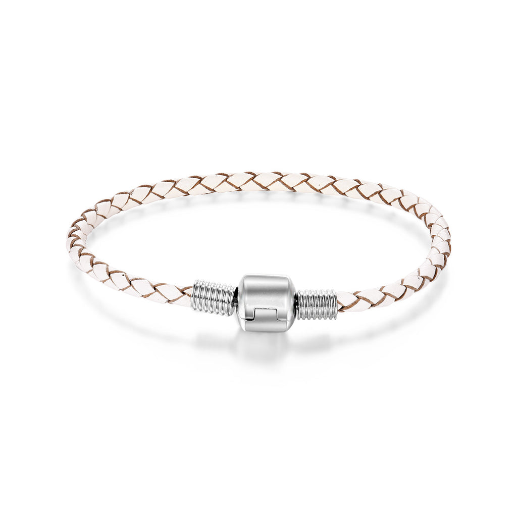 White Leather Woven Women Bracelet
