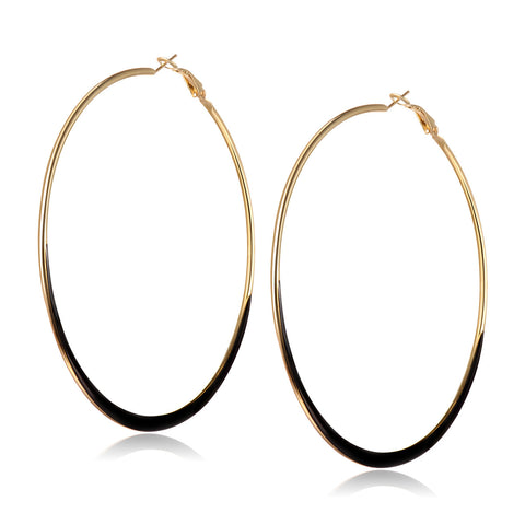 Round Alloy Black Hoop Earrings