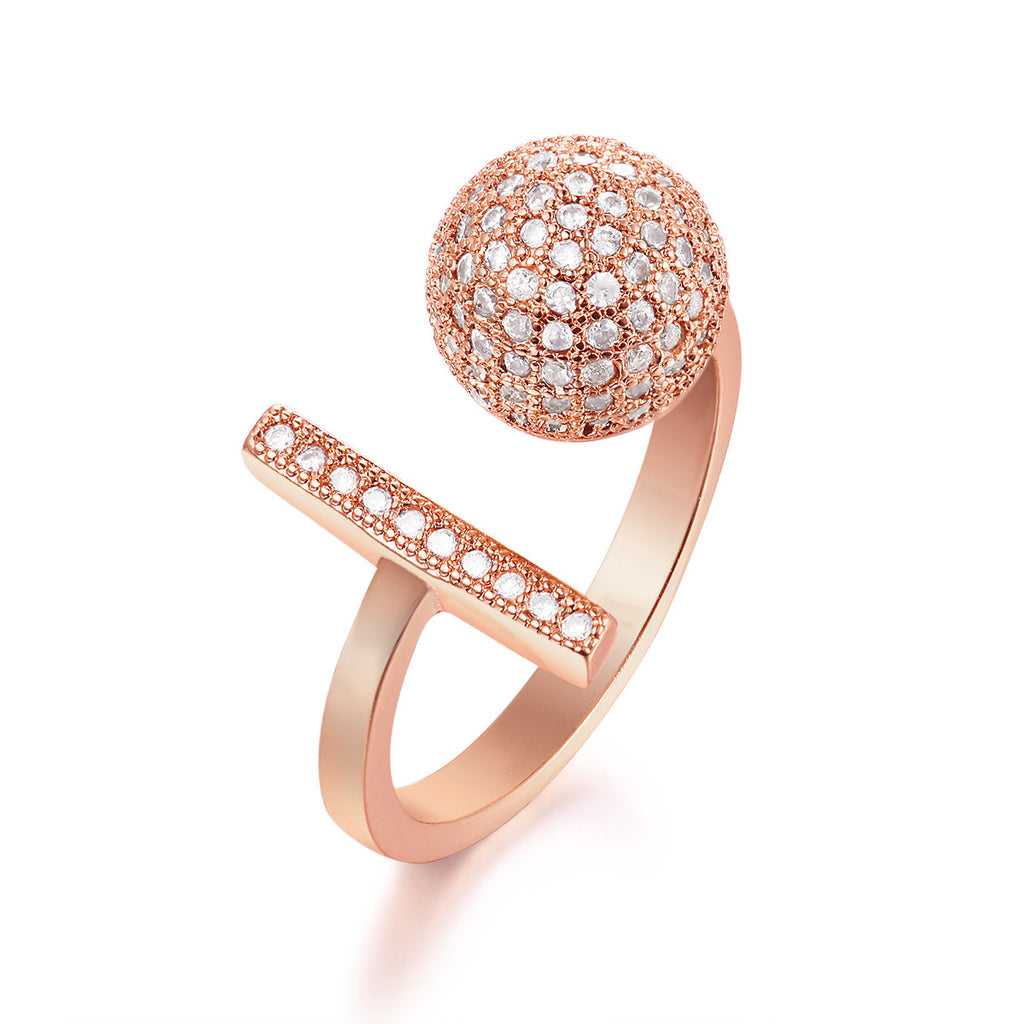 Microphone Rhinestone Pave Open Ring