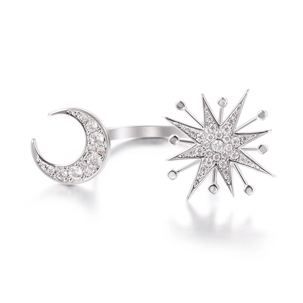 Star & Sun Rhinestone Pave Open Ring