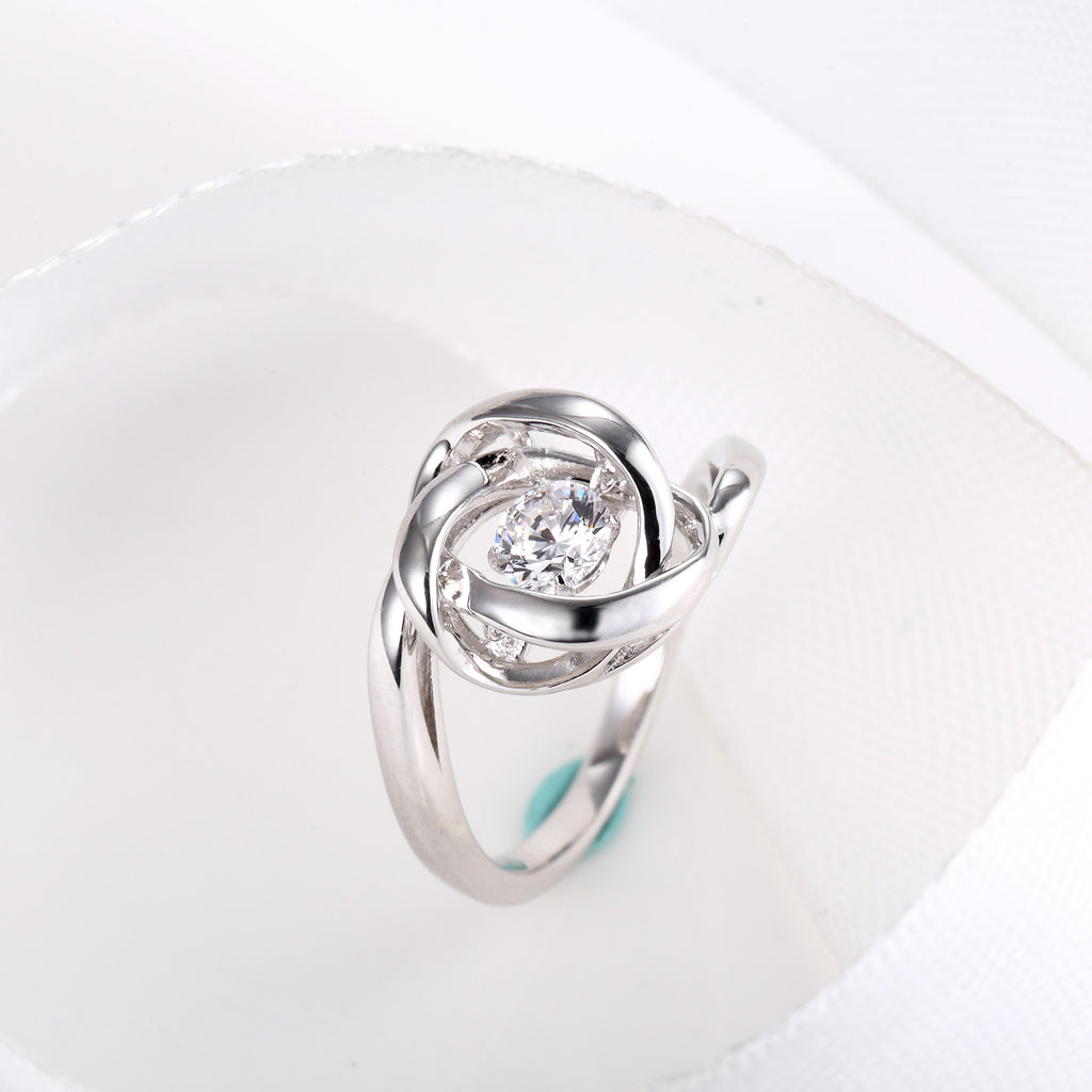 Sterling Silver Rose Flower Dancing Diamond Promise Ring