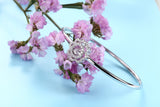 Sterling Silver Plum Blossom Diamond Inlaid Dancing Diamond Bangle