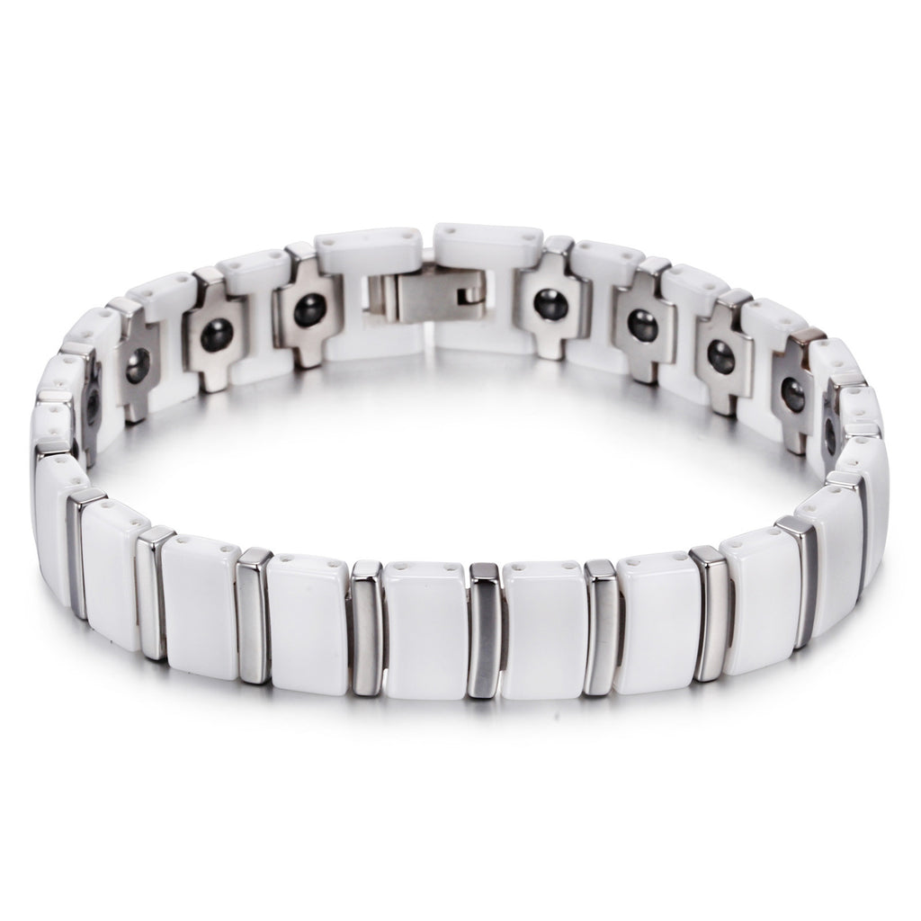 Minimalism White Linked  Retangular Grids Ceramic Men's Bracelet