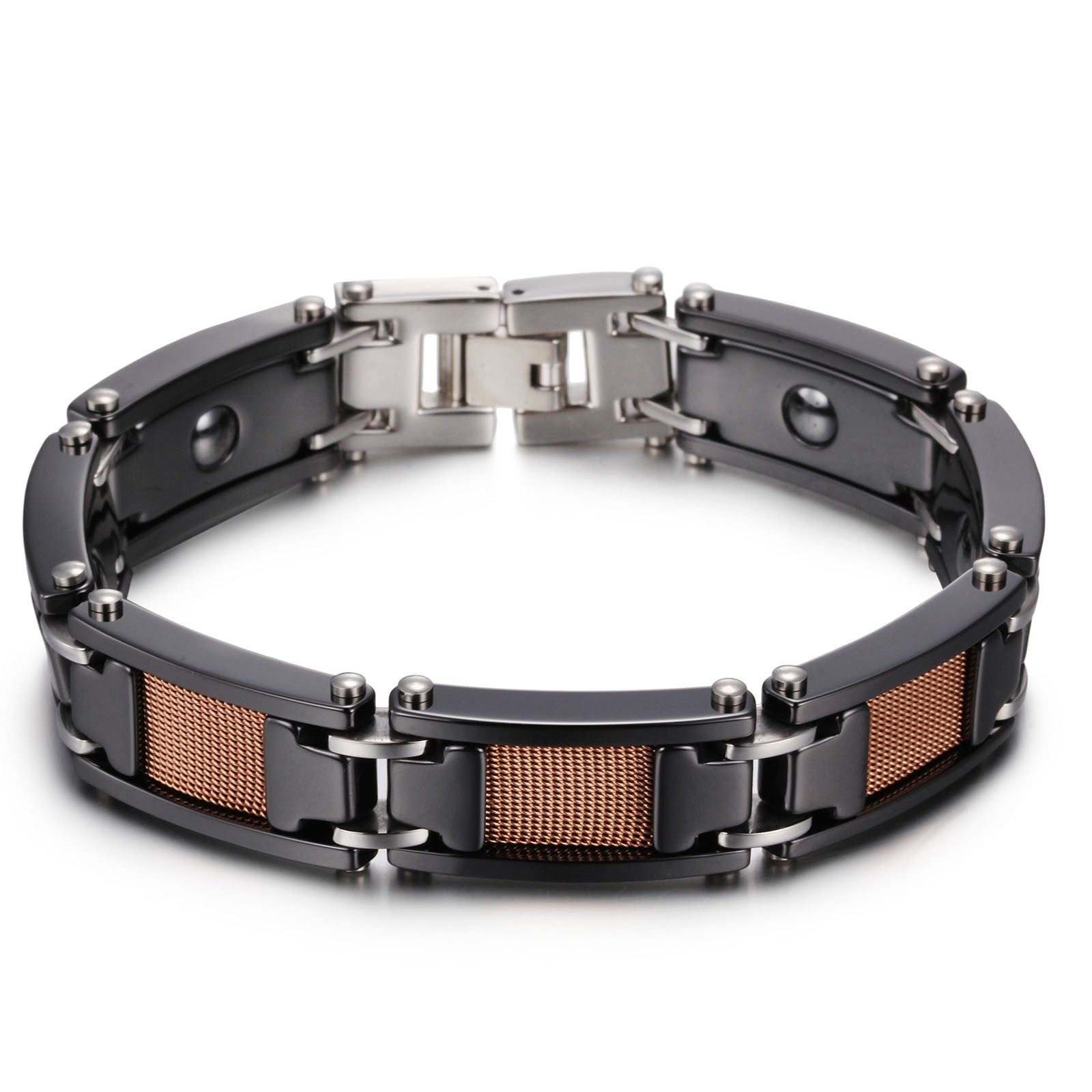 chain fashion mm men cool health bracelet bracelets with for energy tungsten product ceramic stone magnetic pulseiras black