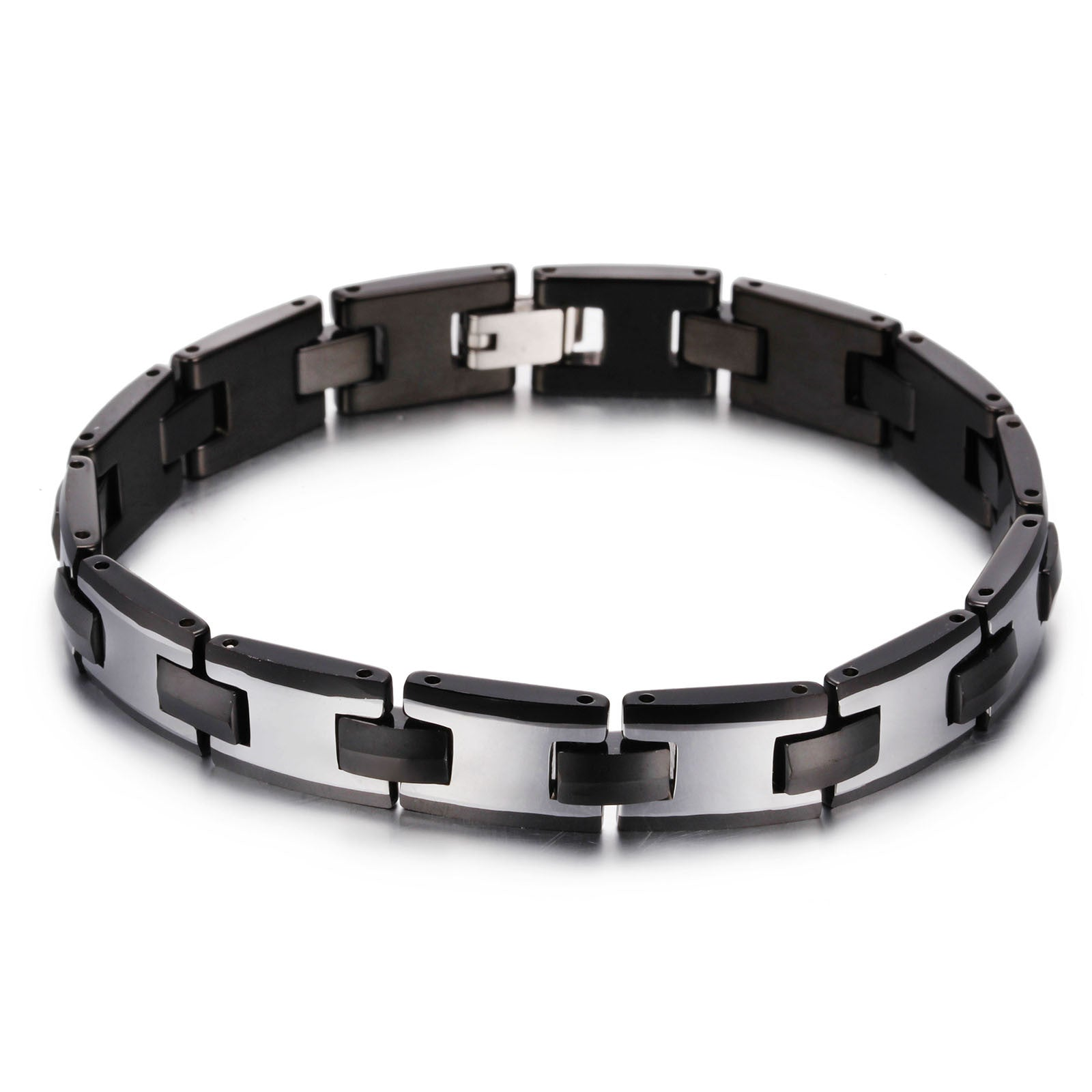 links mens p with bracelet quick and tungsten polished high view fold over clasp magnets