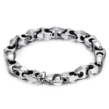 Simple Hook-ups Pattern Silver Tungsten Steel Men's Bracelet
