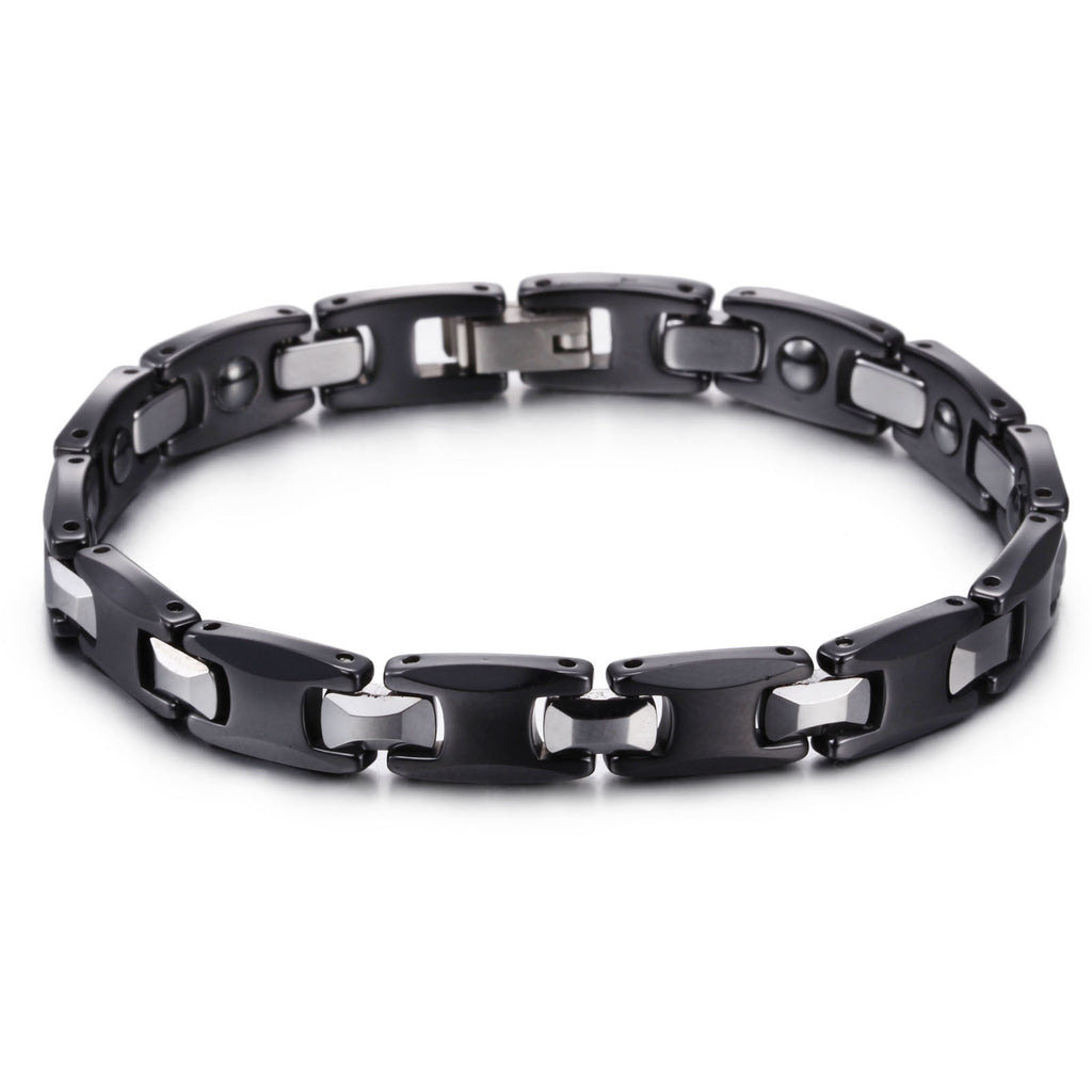Black and Silver Watchband Pattern Tungsten Steel Men's Bracelet