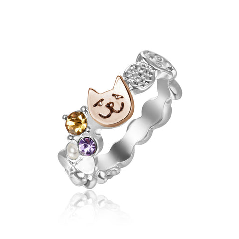 Cute Cat Copper Crystal Cocktail Ring
