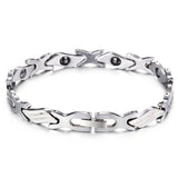 Comic X-shaped and Rectangular Pattern Interlaced Tungsten Steel Men's Bracelet