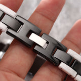 Simple Black and White Grid Pattern Ceramic Men's Bracelet