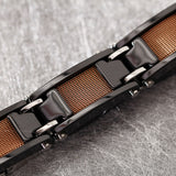 Quadrate Pattern Black and Rose Gold Tungsten Steel Men's Bracelet