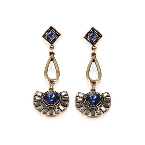 Floral Sapphire CZ Drop Earrings
