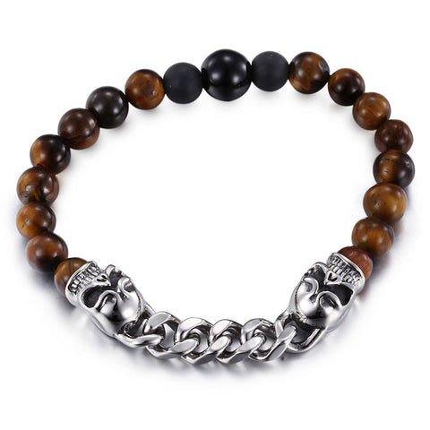 Distinctive Titanium Steel Skull Head Bead Chain Men Bracelet