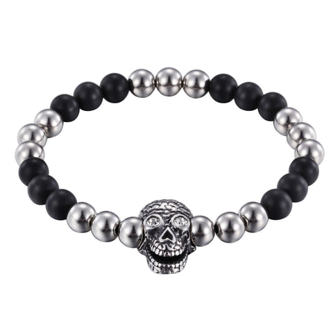 Comic Ghost Head Pattern Bead Chain Men's Bracelet