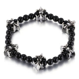 Tetraxial Cruciate Flower Titanium Steel Black Bead Chain Men's Bracelet