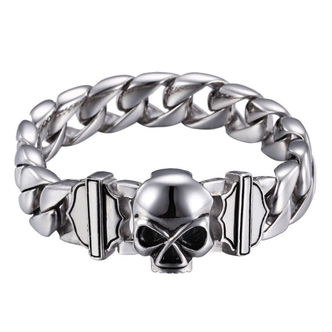 Distinctive Skeleton Head Titanium Steel Men's Bracelet