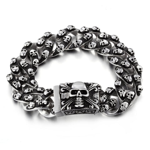 Punk Style Multiple Skull Head Titanium Steel Men's Bracelet