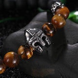 Simple Bead Chain with Helmet Pattern Decoration Men's Bracelet