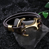 Vintage Golden Anchor Pattern Titanium Steel Bracelet