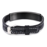 Black Strips Pattern Plate with Leather Bell Titanium Steel Men's Bracelet