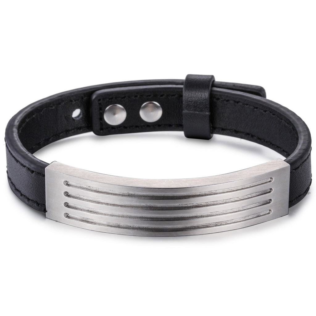 Silver Strips Pattern Plate with Black Leather Bell Titanium Steel Men's Bracelet