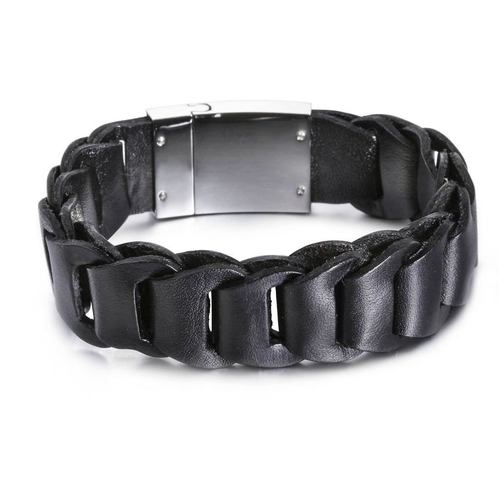 Silver Plate with Hook-ups Pattern Leather Men's Bracelet
