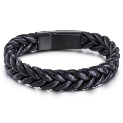 Simple Fried Dough Twist Pattern Titanium Steel Men's Bracelet