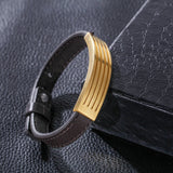 Simple Leather Bell Pattern Titanium Steel Men's Bracelet