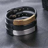 Gird Engraved Silver Plate with Leather Bell Titanium Steel Men's Bracelet