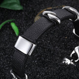 Simple Leather Bell with Silver buckles Titanium Steel Men's Bracelet