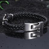 Cruciate Flowers  with Knitted Bell Titanium Steel Men's Bracelet