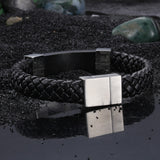 Minimalism Knitted Bell with Silver buckles Titanium Men's Bracelet