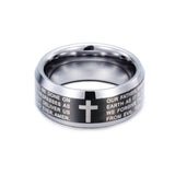 Delicate Bible and Crisscross Engraved Tungsten Steel Men's Ring