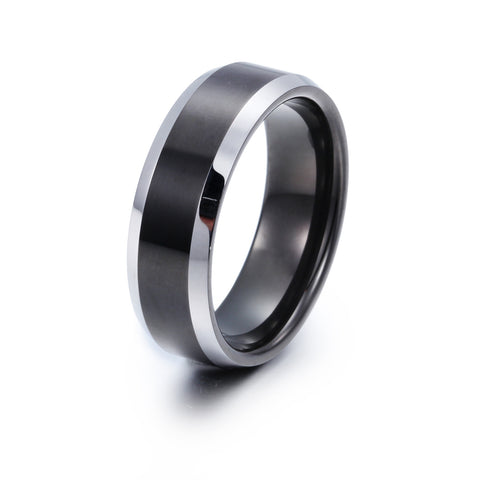 Simple Black Tape Pattern Tungsten Steel Men's Ring