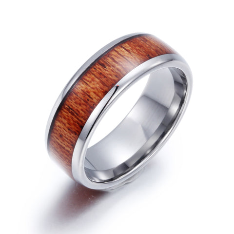 Minimalism Wood Grain Pattern Tungsten Steel Men's Ring