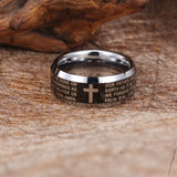 Personalized Delicate Bible and Crisscross Engraved Tungsten Steel Men's Ring