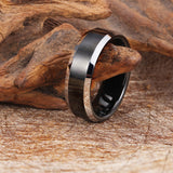 Personalized Black Tape Pattern Tungsten Steel Men's Ring