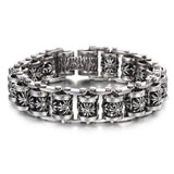 Vintage Cruciate Flowers Connected Titanium Steel Men's Bracelet