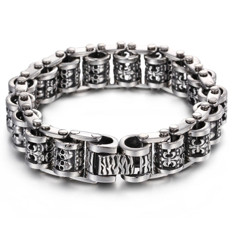 Vintage Twins Skull Head Connected Titanium Steel Men's Bracelet