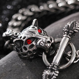 Fashion Tiger Head and Keel Titanium Steel Men's Bracelet