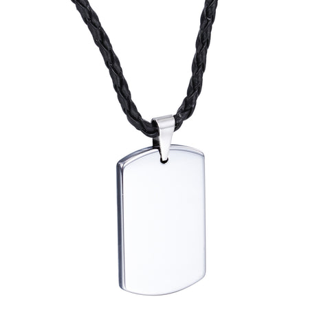 Personalized Minimalism Blank Plate Tungsten Steel Men's Necklace