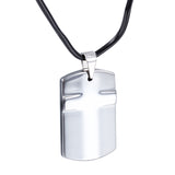 Simple Crisscross Engraved Plate Tungsten Steel Men's Necklace