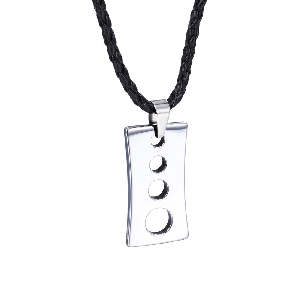 Oval Spots Hollowed Plate Tungsten Steel Men's Necklace