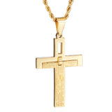 Personalized Golden Bible and  Engraved Titanium Steel Men's Necklace