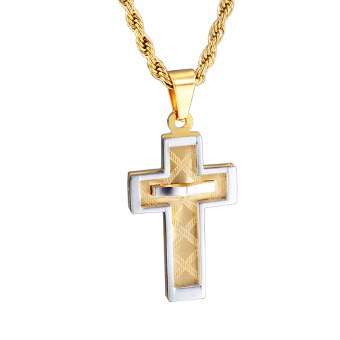 Golden Crisscross with Interlacing Pattern Engraved  Titanium Men's Necklace