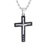 Fashion Black and Silver Concavoconvex Titanium Men's Necklace