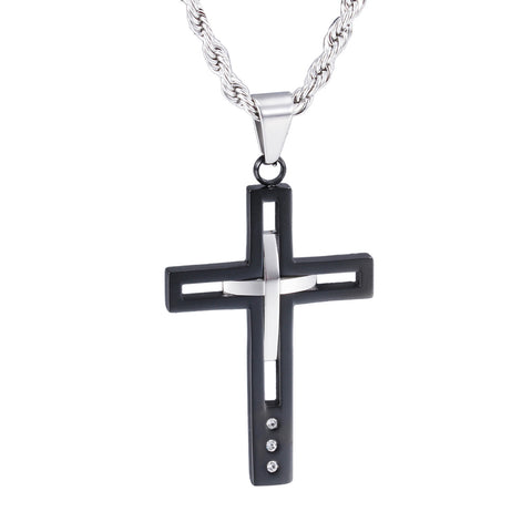 Personalized Black and Silver Concavoconvex Titanium Men's Necklace