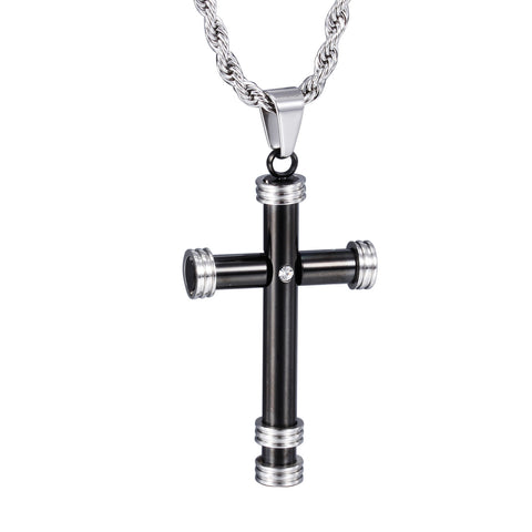 Black Cylinder Crisscross Titanium Steel Men's Necklace